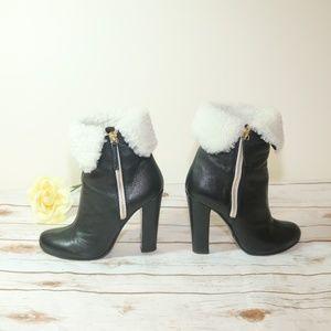 Giuseppe Zanotti Black  Fur  Leather Heels Sz 8